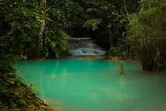 Kuang Si Falls Pools 2 (JessicaAuen) Tags: travel blue nature water wonder waterfall rainforest asia meditate natural outdoor falls pools jungle cascades tropical southeast laos cascade