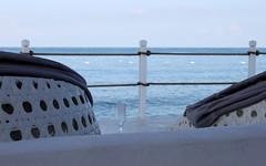 no more (kexi) Tags: blue sea 3 water glass canon turkey three mediterranean afternoon empty horizon may railing 2015 instantfave