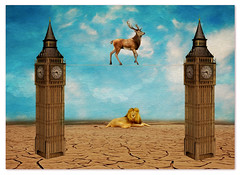 Time (Swissrock) Tags: sky texture photoshop desert time digitalart lion surreal bigben deer fantasy april photoart challenge digitalpaint 2016