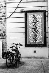 vlos & tableau (nicouze) Tags: street blackandwhite streetart france art bike noiretblanc tag arabe rue avignon oeuvre cadre vlo calligraphie