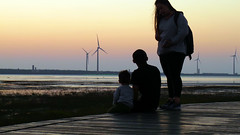 family picture.. (hailin.elle) Tags: family sunset people windmill asia sundown outdoor dusk taiwan windmills taichung wetland  gaomeiwetlands