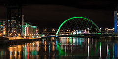 Squinty Bridge (EricHarden) Tags: longexposure bridge green night scotland riverclyde clyde nikon glasgow citylights lightroom d300 18200mm squintybridge theclydearc
