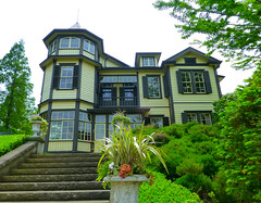(human-faced bun) Tags: house green window grass yellow steps mansion