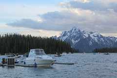 Mountain boating (RPahre) Tags: mountain lake clouds marina boat wyoming grandtetons grandteton grandtetonnationalpark jacksonlake