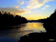 il Monviso in lontananza (archgionni) Tags: trees light sunset sky mountains nature water alberi clouds montagne river torino tramonto fiume natura po turin luce monviso