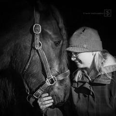 1-52/2016 ~ Ellie and Oskar (DinsPhoto) Tags: blackandwhite blackhorse horseandrider horseportrait week12016 52weeksthe2016edition weekstartingfridayjanuary12016