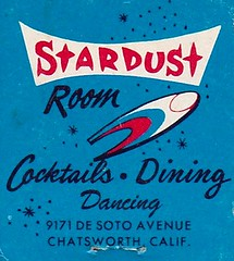 The STARDUST Room at Rocket Bowl, Chatsworth, CA (hmdavid) Tags: california art illustration vintage room bowl bowling rocket southerncalifornia cocktails googie atomic stardust chatsworth matchbook midcentury matchcover