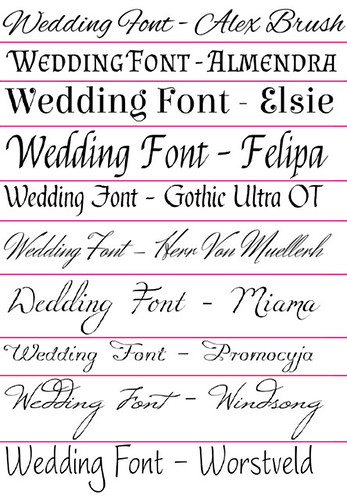 sample wedding fonts