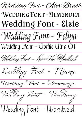 sample wedding fonts