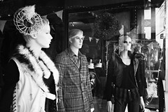 DR2-069-33 (David Swift Photography Thanks for 14 million view) Tags: reflection philadelphia fashion 35mm clothing mannequins storefronts ilford yashicat4 storefrontdisplay davidswiftphotography