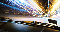 on the way (SeryyD) Tags: city car rain vw night canon way eos lights driving latvia vehicle latgale 40d canoneos40d kraslava