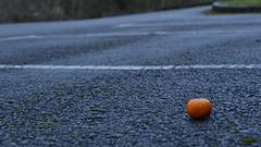 In Space (mitchell_dawn) Tags: orange wet lines tarmac tangerine fruit lost discarded clementine carpark dropped emptyspaces flickrfriday espaciosvacos leererume espaosvazios