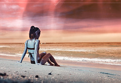Sands of Jupiter (Hayden_Williams) Tags: ocean sunset summer orange abstract film beach girl youth analog swim vintage sand puertorico turquoise hipster dream surreal retro bikini shore indie analogue jupiter tides oceanpark nikonosv lomochrometurquoise