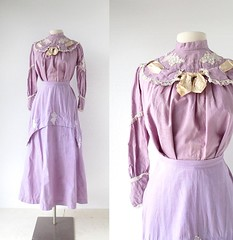 1910s A Walk in the Vineyard purple broadcloth two-piece dress with grape appliques (Small Earth Vintage) Tags: vineyard purple wine grapes vintageclothing vintagefashion womensfashion twopiecedress edwardiandress 1910sdress smallearthvintage