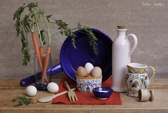 Simple Harmony (Esther Spektor - Thanks for 10+ millions views..) Tags: blue stilllife food white green cooking kitchen glass metal composition canon wooden bottle stem beige ceramics pattern linen availablelight napkin egg salt fork stilleben spoon bowl vegetable carrot pitcher everydaylife tabletop fryingpan bodegon cobalt ornage naturemorte naturamorta naturezamorta creativephotography artisticphoto estherspektor