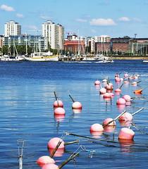 2014:07:22 12:45 (Jori Samonen) Tags: trees sea sky water clouds marina buildings finland boats helsinki buoys sörnäinen katajanokka merihaka