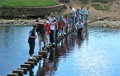 Bolton Abbey (grahamwilletts) Tags: people water river rivers steppingstones