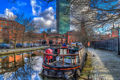 The Towpath (Kevin From Manchester) Tags: bridge england sky reflection beautiful architecture manchester canal colours waterfront northwest outdoor colorfull lancashire serene 1855mm archways barge hdr scenics waterways rochdalecanal canon1855mm castlefileds kevinwalker canon1100d
