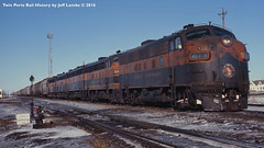 Great Northern Railway Unit Potash Train  Fargo, ND  Feb. 1970 (Twin Ports Rail History) Tags: twin ports rail history by jeff lemke time machine bn gn great burlington northern railroad railway emd f7 covered wagons 1970 fargo north dakota potash train unit