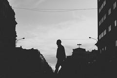 The loneliness of urban puppets (mripp) Tags: street city brussels people urban white man black men art silhouette walking mono europa europe belgium kunst sony human fantasy stadt monochrom drama belgien alpha7 strase supertacumar