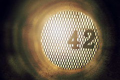 42 (Studio d'Xavier) Tags: monochrome grate tube drain 42 stormdrain areyoukiddingme happybirthdaydavid explored werehere proofthedonkeyisondrugs
