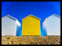 Beach Huts (Jon Lelacheur Photography) Tags: camera uk blue sea sky white beach yellow sussex coast nokia phone huts southcoast 930 jonlelacheurphotography lelacheurcouk eastbbourne