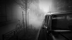 smoky days (vfrgk) Tags: nyc people blackandwhite bw tree monochrome bicycle buildings fire accident smoke crowd citylife streetphotography silhouettes streetlife streetscene urbanmoment smoky gathered urbanlife urbanphotography urbanfragment streetsnap