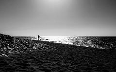 Untitled (Dan-Schneider) Tags: street camera sea people blackandwhite bw dan beach silhouette europe candid streetphotography olympus scene best silence moment schwarzweiss schneider einfarbig omdem10