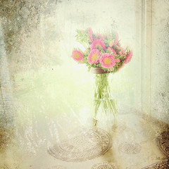 Waiting for guests (peggypryor68) Tags: pink flowers window potd april sidetable 2016 sidelight ontheside cy365 distressedapp 4162016