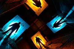 CRT attempt (palateth) Tags: door blue portrait orange lightpainting night crt belgium belgique belgie urbanexploration urbex lightart alanthompson camerarotationtool