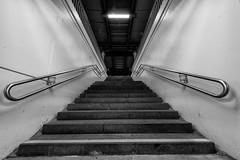 upstairs (Zesk MF) Tags: bw white black stairs nikon steps sigma bahnhof clean treppe trainstation 8mm stufen gelnder zesk