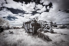 Discarded Infrared (Notley) Tags: sky abandoned field clouds rural ir may missouri infrared farmequipment 2016 10thavenue farmimplements notley wooldridgemissouri ruralphotography lifepixel infraredconversion notleyhawkins coopercountymissouri missouriphotography httpwwwnotleyhawkinscom notleyhawkinsphotography