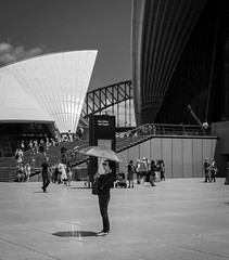 A bit of shade (SydneyLens) Tags: street city people monochrome mono au sydney streetphotography australia newsouthwales operahouse sydey sydneycity
