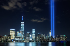 Tribute (BrianEden) Tags: nyc ny newyork us newjersey jerseycity fuji unitedstates manhattan worldtradecenter 911 september fujifilm hudsonriver wtc sept11 september11 11th lowermanhattan tributeinlight tributeinlights x100s