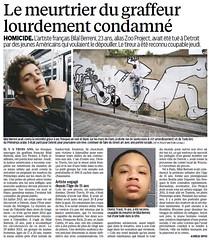 LE MEURTRIER DU GRAFFEUR LOURDEMENT CONDAMNE - LE PARISIEN - 10 JANVIER 2016 (Brin d'Amour) Tags: graffeur brindamour leparisien zooproject meurtrier condamnation bilalberreni