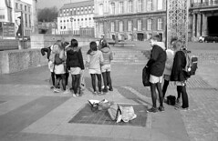 2015-02-23 Luik_F. Camarades d'cole des filles Palais de Princes Evgues.Lige-Belgique. ONLY PERSONAL COMMENTS. NO LOGOS. THANK YO FOR YOUR UNDERSTANDING. RESPECT the copyright. (YoLeenders) Tags: monochrome streetphotography younggirls nikoncoolscan5000ed placesaintlambert analogblackandwhite ligebelgique delta400asa developerhc110131b luikbelgi girlsschooljuvenile summicron12040mm rangefinderleicacl juvniledefilles palaisdeprincesevgues