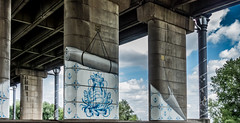 Temple (Jorden Esser) Tags: bridge tree underpass rotterdam highway mural text pillar bluesky tiles sail pillars delftblue homeward hss vanbrienenoord vanbrienenoordbrug pillarwall silderssunday