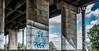 Temple (Jorden Esser (on a break)) Tags: bridge tree underpass rotterdam highway mural text pillar bluesky tiles sail pillars delftblue homeward hss vanbrienenoord vanbrienenoordbrug pillarwall silderssunday
