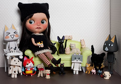 59/365 Crazy Cat Lady (bad_juju2) Tags: cats olive ghibli cb kuro toro jiji ebl revoltech danboard 365blythe kikisdelivery mewmewkitties