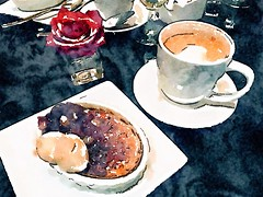 Valentine's dessert, crme brle and a latte. (Juliana Longiotti) Tags: color coffee rose watercolor dessert nopeople valentines latte crmebrle waterlogue