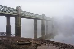Kew Railway Bridge (jonron239) Tags: morning bridge reflection london misty fog kew thames river districtline chiswick