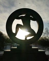 Vigeland Sculpture Park, Oslo (pompey shoes) Tags: park winter sculpture sun snow man male silhouette oslo norway circle naked nude round figure outline vigeland challengegamewinner