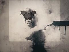 Madame Butterfly (funkysugar2003) Tags: portrait woman painterly monochrome dark expression manipulation digitalpainting artsy darkart selfshot iphone introspection iphoneography shootermag