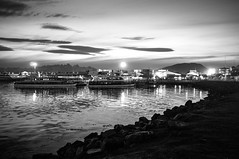 Rumbo Sur (renanluna) Tags: sea sky blackandwhite bw argentina clouds tierradelfuego ushuaia harbor mar ship fuji monochromatic pb cu fujifilm arg 54 pretoebranco monocromia navio cais nvens x100 renanluna fujifilmfinepixx100