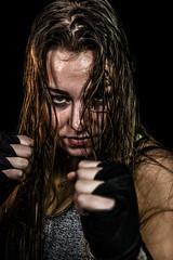 Dayna 10 (M van Oosterhout) Tags: portrait people woman holland netherlands girl beauty face female model women photoshoot posing sweat boxing kickboxing