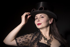 The Lady in the hat (Craig 2112) Tags: hat vintage studio model top gothic honey miss malone steampunk