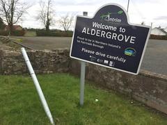 Welcome to Aldergrove.  Please drive carefully. (John D McDonald) Tags: sign geotagged irony northernireland ni welcome ironic ulster countyantrim antrim aldergrove coantrim crumlin
