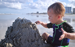 Sand castle adjustments (Scott SM) Tags: ocean new old portrait castle beach sand toddler waves play florida dirty 23 build month smyrna concentrate