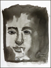 The Futurist (lloydboy52) Tags: portrait illustration ink painting sketch artist cigarette smoking painter caricature inkdrawing futurist inkwash thefuturist italianfuturist