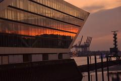 Dockland, Hamburg (mschlesi) Tags: sky orange rot water germany nikon wasser sonnenuntergang hamburg wolken hafen elbe dockland spiegeln d5500